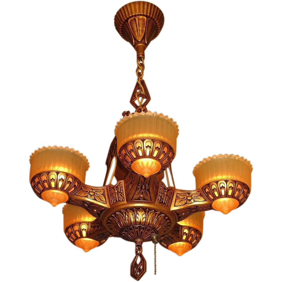 Deco Era Ceiling Chandelier With Butterflies From