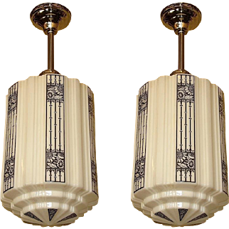 5 Large Art Deco Commercial Fixtures priced each