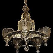 Tudor Gothic 5 Light Original Finish & Glass 1920s