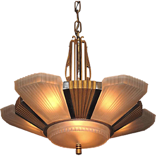 1930s Mid Century Six Shade Chandelier