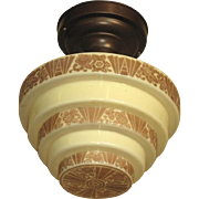 1920s Deco Design on Custard Glass Shade