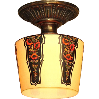 1920s - 30s Floral Pattern Custard Shade with a Deco Inspiration