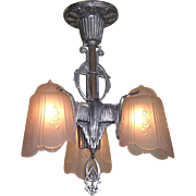 Late 20s Art Deco Three Shade Ceiling Fixture