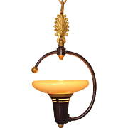 1930s Single bulb Pendant with Custard glass by Lightolier