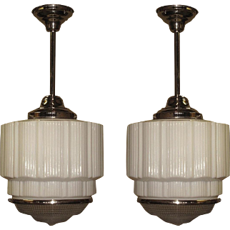 2 Large Bank Lobby Ceiling Fixture, circa 1925