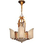 Late 1920s Art Deco and Egyptian Revival Slip Shade Chandelier