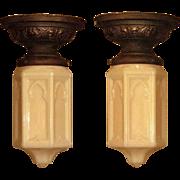 Matched Pair Small Moorish Custard Glass Fixtures Priced Each