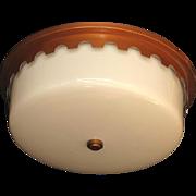 16 Inch Vintage Milk Glass Flush Mount Fixture