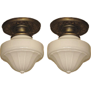 Pair Cased Milk Glass Shades on Original Solid Brass Fitters
