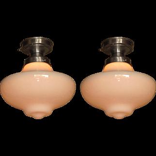 Pair Milk Glass Ceiling Fixtures
