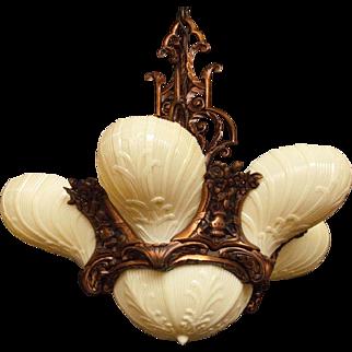 Vintage Bronze with Custard Glass Slip Shades, Deco Rococo Masterpiece. Original Patina