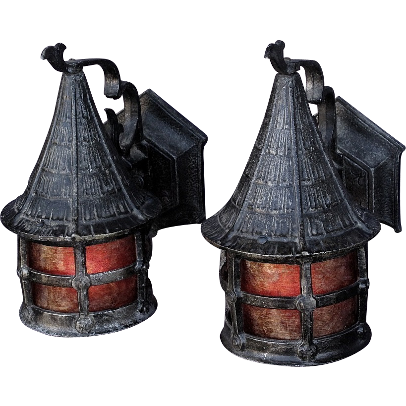 Pair Vintage Lodge Or Cottage Size Storybook Porch Light Fixture SOLD |  Ruby Lane