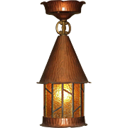 Late 20s early 30s Copper Ceiling Mount Porch Light