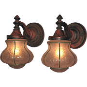 C. 1920 Large and Heavy Cast Iron Porch Lights