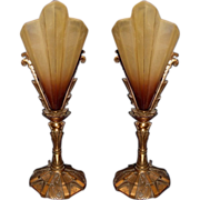 Truly Spectacular Pair Vintage 1920s-30s Slip Shade Mantle or Sideboard Table Lamps
