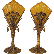 Bronze Dragonfly Mantle Lamps priced per pair