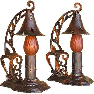 Pair Cast Iron 1920s Table Lamps Original Finish