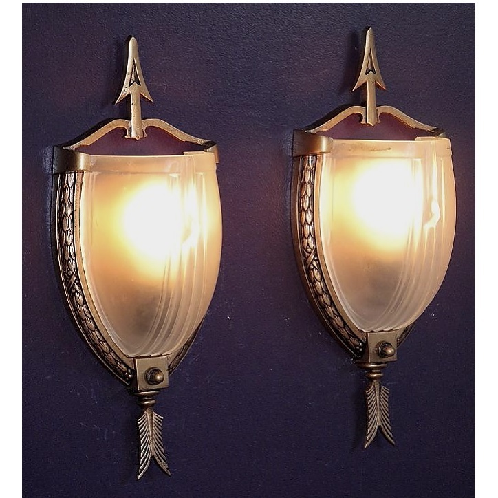 Roll over Large image to magnify click Large image to zoom & Pair vintage Slip Shade lighting wall sconces. Federal style from ... azcodes.com