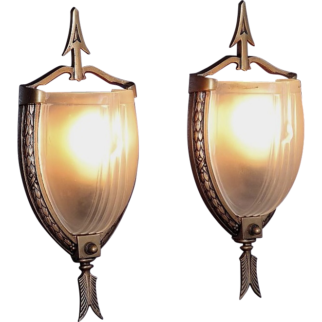 Pair vintage Slip Shade lighting wall sconces. Federal style influence. 4 pair avail  sc 1 st  Ruby Lane & Pair vintage Slip Shade lighting wall sconces. Federal style from ... azcodes.com