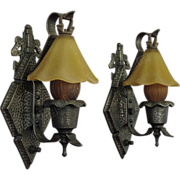 Pr. Hammered Arts& Crafts, Tudor, Storybook Style Sconces. 6 pr available priced per pair