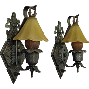 Pr. Hammered Arts& Crafts, Tudor, Storybook Style Sconces