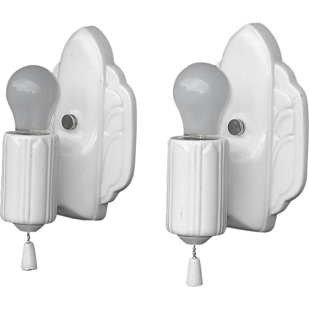 Art Deco Bathroom Wall Sconces : Pair Antique White Porcelain Kitchen Bathroom Art Deco Wall Sconces. 2 from vintagelights-online ...