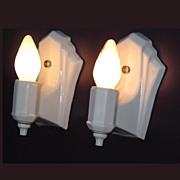 Pair Vintage White Porcelain Light Fixtures