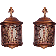 Pair 30s Revival Wall Fixtures with Mica Shade.