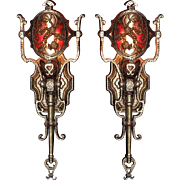 4 Vintage Spanish Revival Wall Sconces with Mica Medallion Shade. Priced per pair