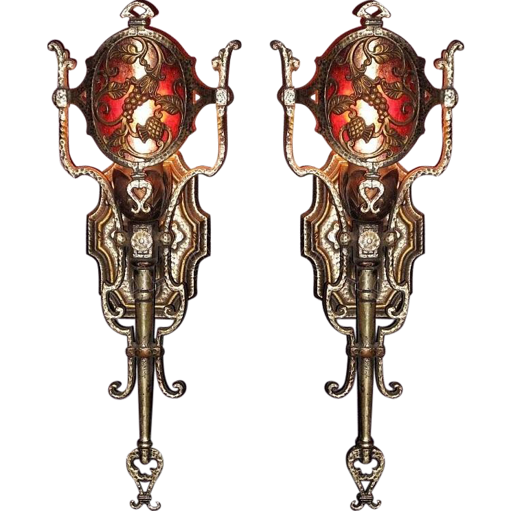 Pair Vintage Spanish Revival Wall Sconces with Mica Medallion Shade. from vintagelights-online ...