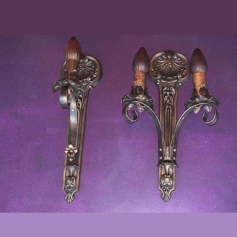 Vintage Moe Bridges Sconces: single arm, double arm, and 3 arm