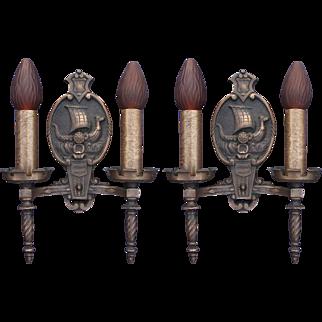 3 Vintage Bronze Viking Ship Sconces