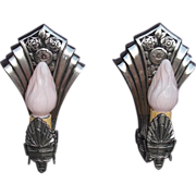 Pair of Wonderfully Art Deco Nickel Plated Wall Sconces