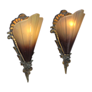 Pair Vintage Brown Tip Slip Shade Sconces.