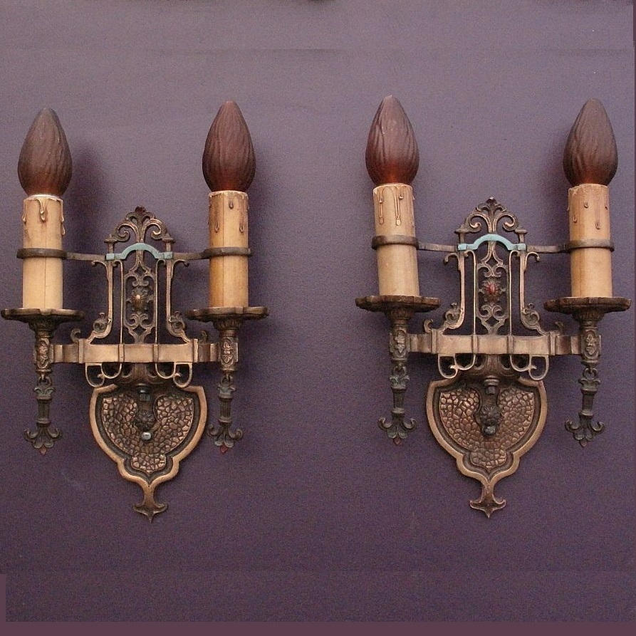 Pair Revival Style Bronze Sconces