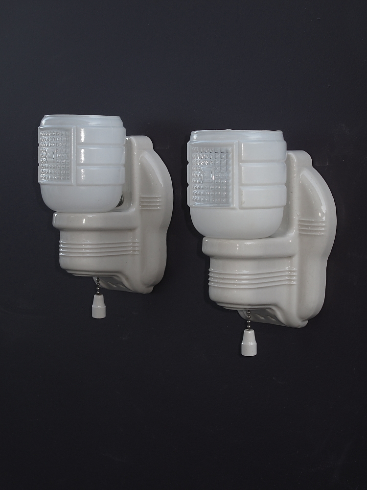 Vintage White Porcelain Bathroom Wall Sconces Priced per Pair. from rubylane-sold on Ruby Lane