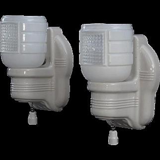 Pair Vintage White Porcelain Bathroom Sconces with 2 free LED bulbs