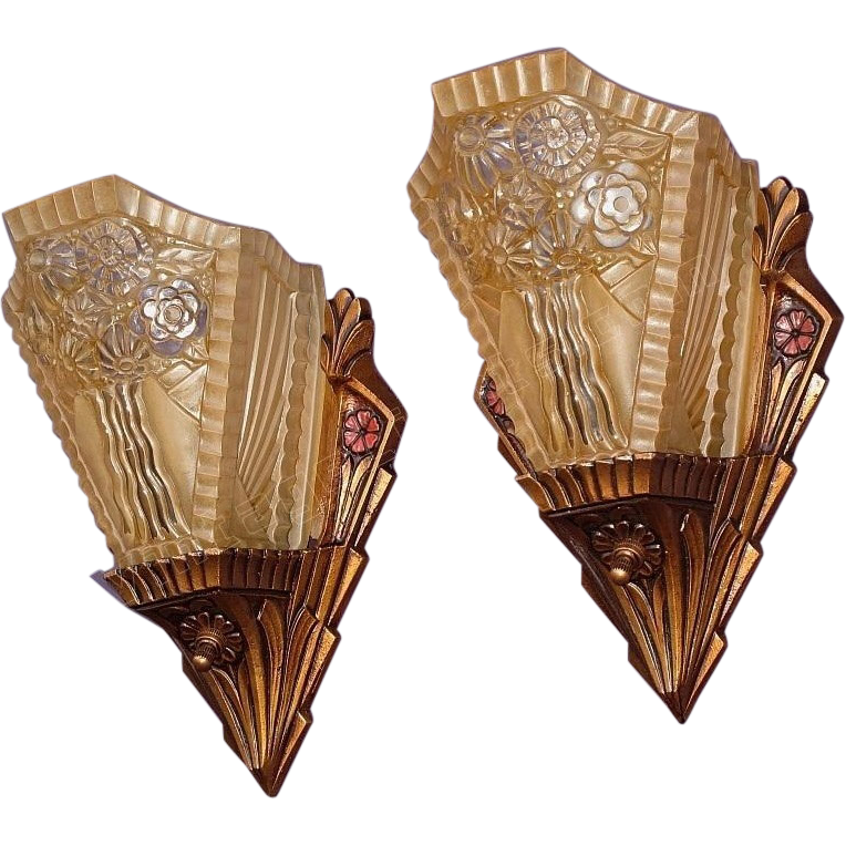Art Deco Wall Sconces Vintage : Pair Vintage 1920s -1930s Art Deco Slip Shade Wall Sconces SOLD on Ruby Lane