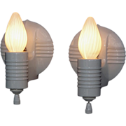 Round Vintage White Porcelain Wall Sconces. 2 pair available.  Price for pair.