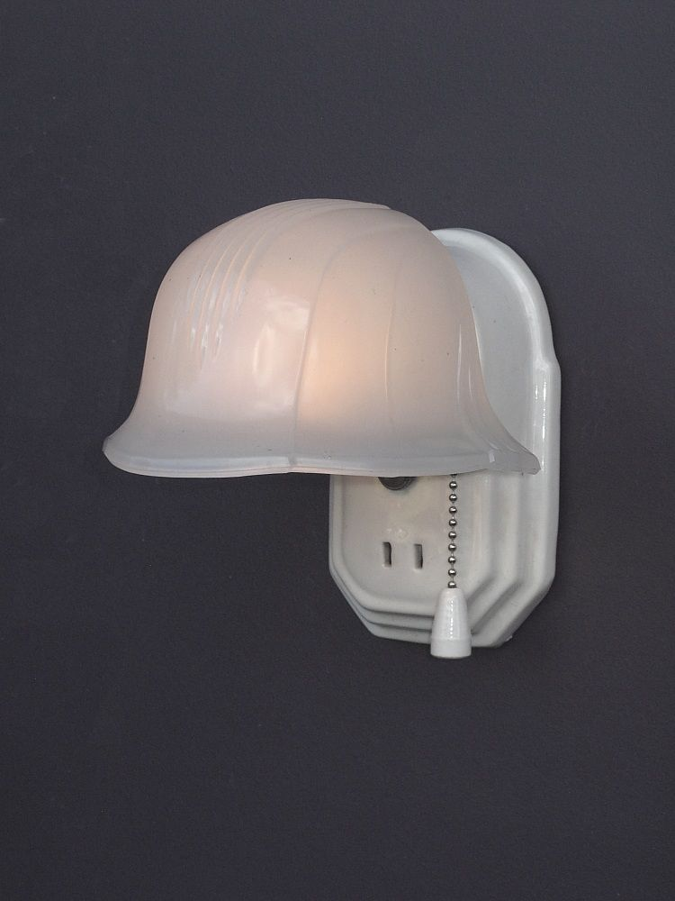 Vintage Ceramic Wall Lights : Vintage white porcelain wall light fixture with helmet shade. SOLD on Ruby Lane