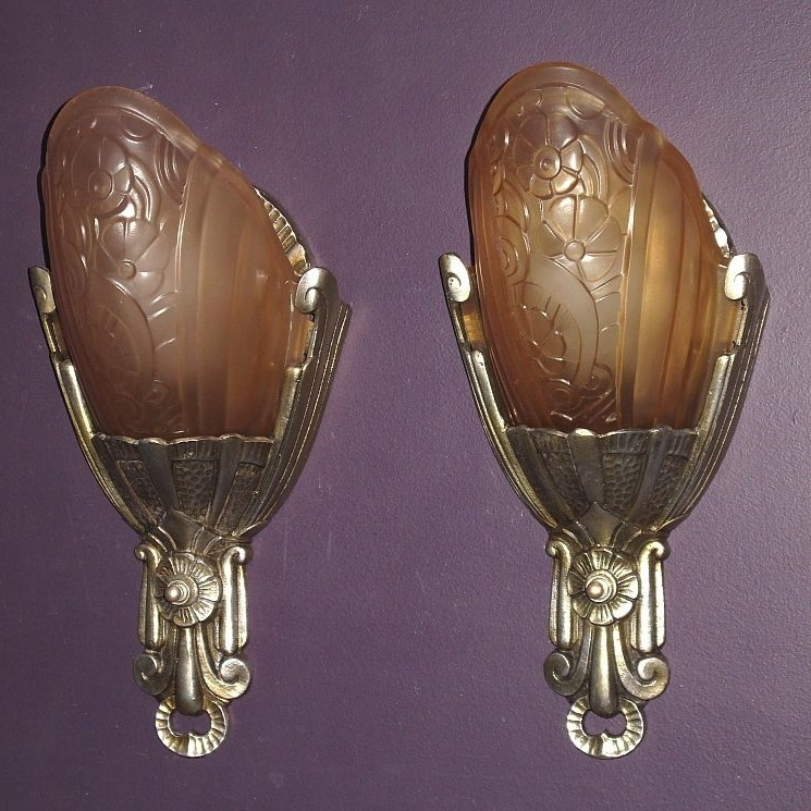Vintage Lincoln Slip Shade Wall Sconces. Up to 6 Pair available. Priced per pair