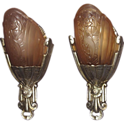 Vintage Lincoln Slip Shade Wall Sconces.