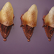 Pair Vintage Slip Shade Sconces