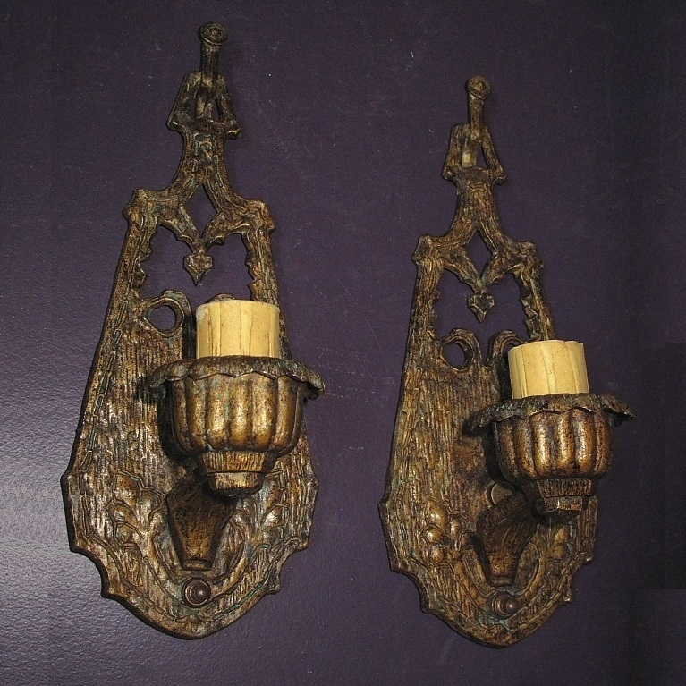 Transition Pair of Art Nouveau and Arts & Crafts Sconces