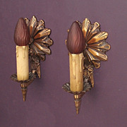 Vintage Deco Bronze Wall Sconces