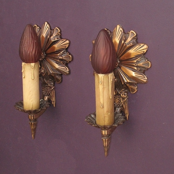 Wall Sconces Deco : Vintage Deco Bronze Wall Sconces from vintagelights-online on Ruby Lane