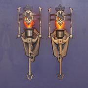Pair Vintage Solid Bronze Tudor/Revival Style Wall Sconces; priced per pair, several pairs available