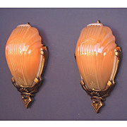 Vintage Deco Inspired Slip Shade Wall Lighting by Markel - At least 2 pair available priced per pair