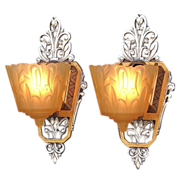 Pair Art Deco Inspired Vintage Slip Shade Wall Sconces 4 pair available priced per pair