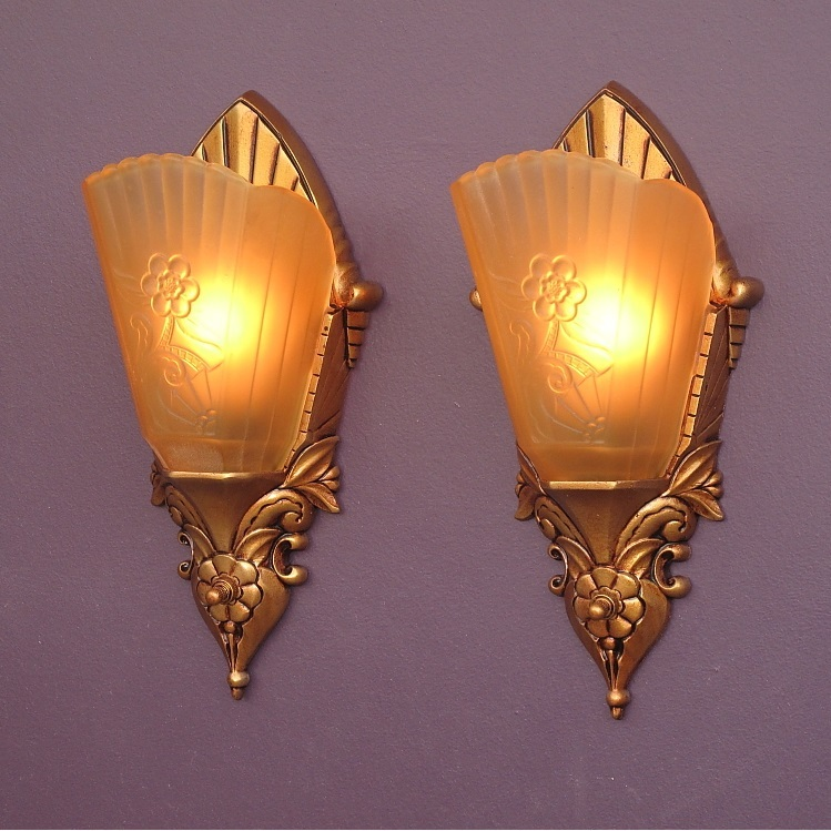 Vintage Art Deco Inspired Slip Shade Wall Sconces c.1920s - 30s from vintagelights-online on ...
